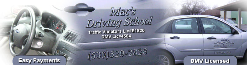 Mac's Driving School in Red Bluff, California is dedicated to offering Drivers Education, Traffic School and Drivers Training classses located in Red Bluff, CA